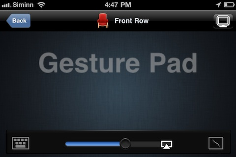 Gesture Pad controlling FrontRow